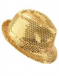 Sombrero de lentejuelas dorado adulto