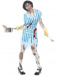Disfraz de mujer de servicio zombi Halloween