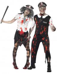 Disfraz de pareja de policías zombie