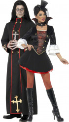 Disfraz de pareja de cura y vampiro Halloween
