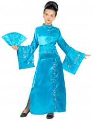 Disfraz de geisha azul cielo para niña