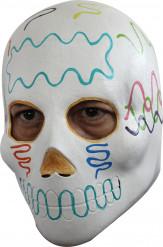 Máscara blanca adulto coloreada Día de los Muertos