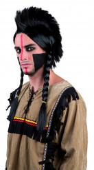 Peluca de indio con trenzas para adulto