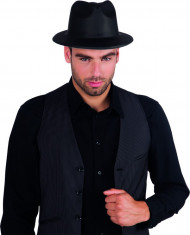 Sombrero negro de gangster para adulto