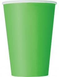 10 Vasos verde lima cartón