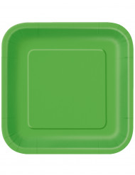 14 platos cuadrados verde lima cartón 23 cm