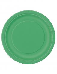 16 Platos grandes cartón verde esmeralda