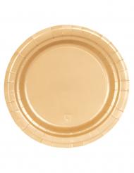 16 Platos de cartón dorados 23 cm
