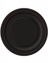 16 platos negros de cartón 22 cm