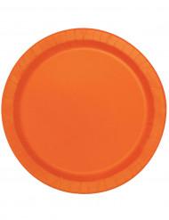 16 platos grandes naranja cartón