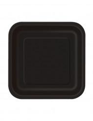 16 platos pequeños negros cartón 17 cm