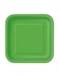 16 Platos pequeños cuadrados verde lima cartón 18 cm