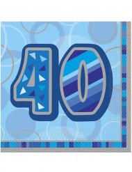 16 Servilletas papel 40 años azules 33x33 cm