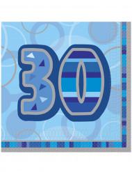 16 Servilletas papel edad 30 años azules 33x33 cm
