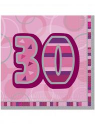 16 Servilletas papel 30 años rosas 33x33 cm