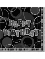 16 Servilletas papel Happy Birthday gris 33x33 cm