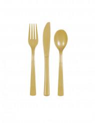 18 Cubiertos plástico dorado