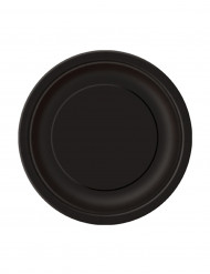 20 platos pequeños redondos de cartón negro 18 cm