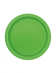 20 Platos pequeños verde lima cartón 18 cm
