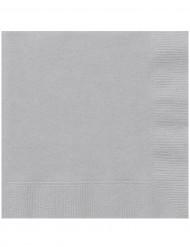 20 Servilletas de papel plateado 33x33 cm