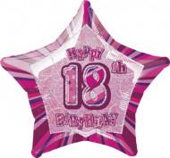 Globo estrella rosa edad 18 años