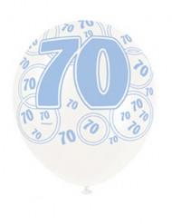 Globos azules edad 70 años