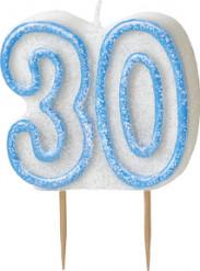 Vela edad 30 años azul