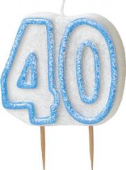 Vela edad 40 años azul