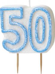 Vela edad 50 años azul
