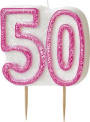 Vela edad 50 años rosa