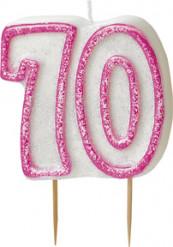 Vela edad 70 años rosa