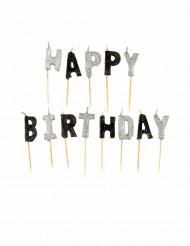 Vela Happy Birthday grises