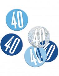 Confetis azules y grises edad 40 años