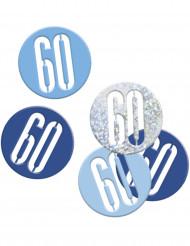 Confetis azul y gris edad 60 años