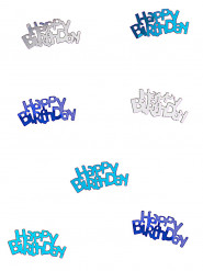Confetis azul/gris Happy Birthday