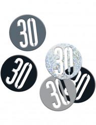 Confetis gris y negro 30 años