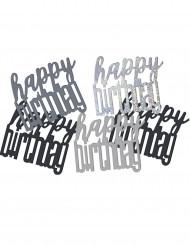 Confetis gris/negro Happy Birthday