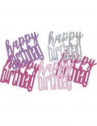 Confetis rosa gris Happy Birthday