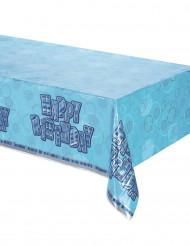 Mantel plegado plástico Happy Birthday azul
