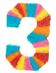 Piñata número 3 multicolor
