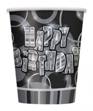 8 Vasos Happy Birthday gris
