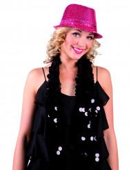 Sombrero de lentejuelas de color rosa adulto