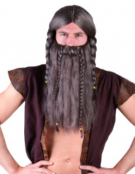 Peluca vikinga con barba