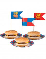 12 palillos con banderas medievales