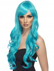 Peluca larga ondulada azul turquesa
