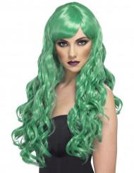 Peluca ondulada verde