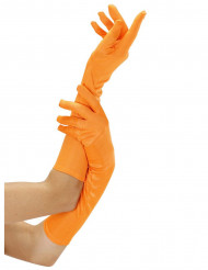 Guantes largos naranja fluo