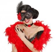 Máscara negra con encaje