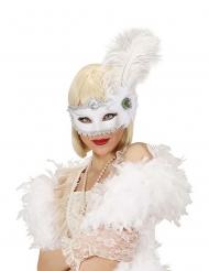Máscara blanca con pluma