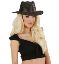 Sombrero cowboy negro para adulto paja